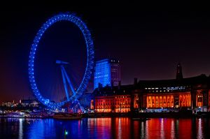 Eye of London at night