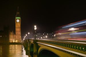 Westminster bridge in London at night
