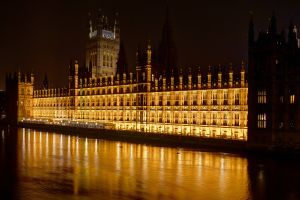 Parliament in London at night
